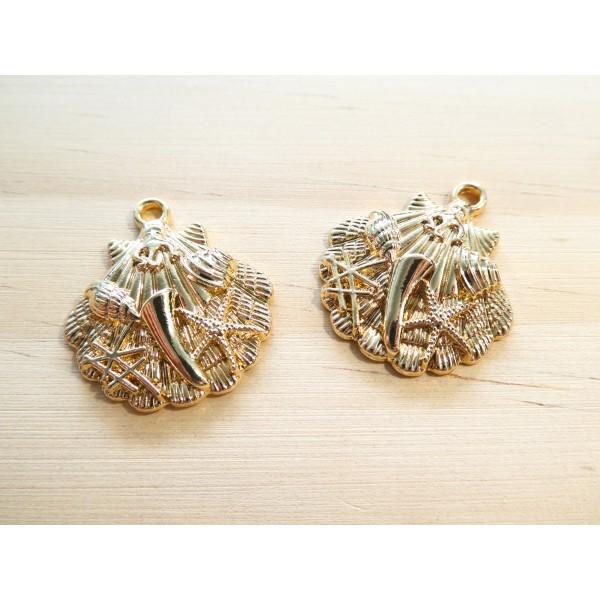 2 Breloques forme coquillage 27*24mm doré - étoile de mer, coquillage en relief - Photo n°1