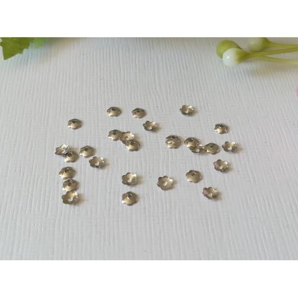 Coupelles fleur 4 mm argent mat x 50 - Photo n°2