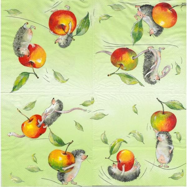 4 Serviettes en papier Hérisson Pomme Format Lunch 10160-1120 IHR Decoupage Decopatch - Photo n°1