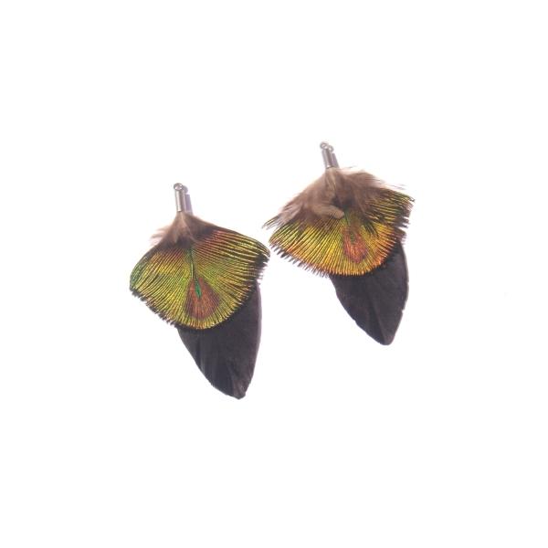Paire de pendentifs Paon et Oie teintée noir 5.3 CM de hauteur x 3.3 CM - Photo n°3
