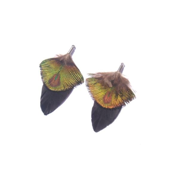 Paire de pendentifs Paon et Oie teintée noir 5.3 CM de hauteur x 3.3 CM - Photo n°1