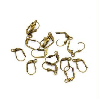 50 Dormeuses Clips 17x10mm Bronze