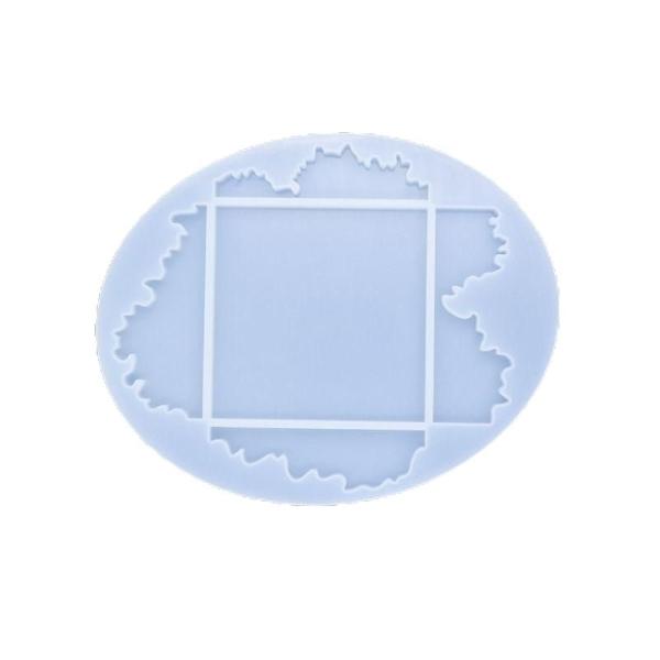 1pc Silicone, Époxy Moule Jeu De Coaster Moule Ovale Moule en Silicone de Réglage du support de déci - Photo n°1