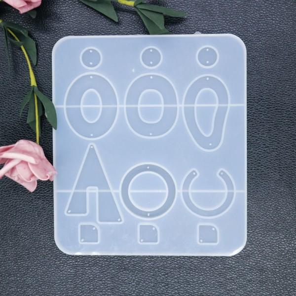 1pc Grand Ensemble De boucle d'Oreille Pendentif Ovale Formes Géométriques Moule en Silicone de Régl - Photo n°2