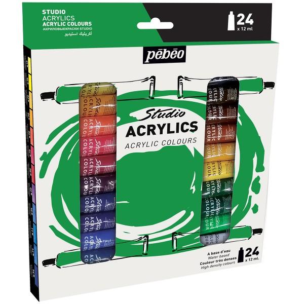 Assortiment Peinture Acrylique Pébéo - Studio Acrylics - 24 x 12 ml - Photo n°1