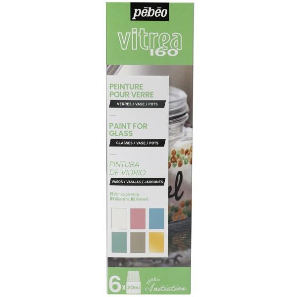Coffret d'initiation Pébéo - Peinture sur verre - Tons pastel - 6 x 20 ml - Photo n°1