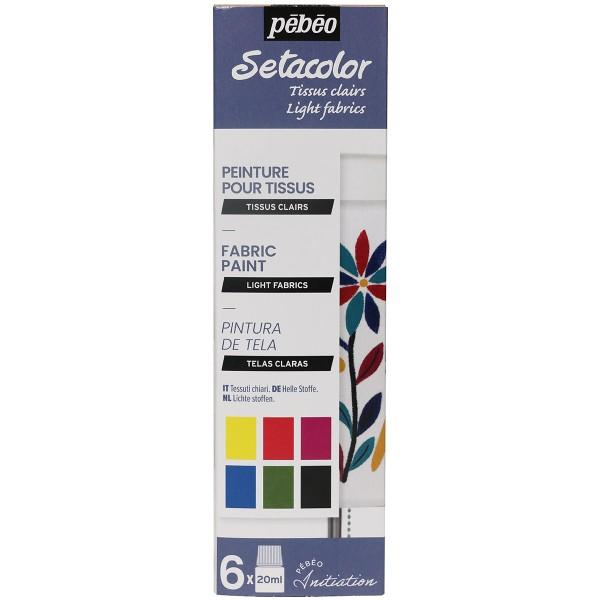 Coffret d'initiation Pébéo - Peinture pour tissu - Tissus Clair - 6 x 20 ml - Photo n°1