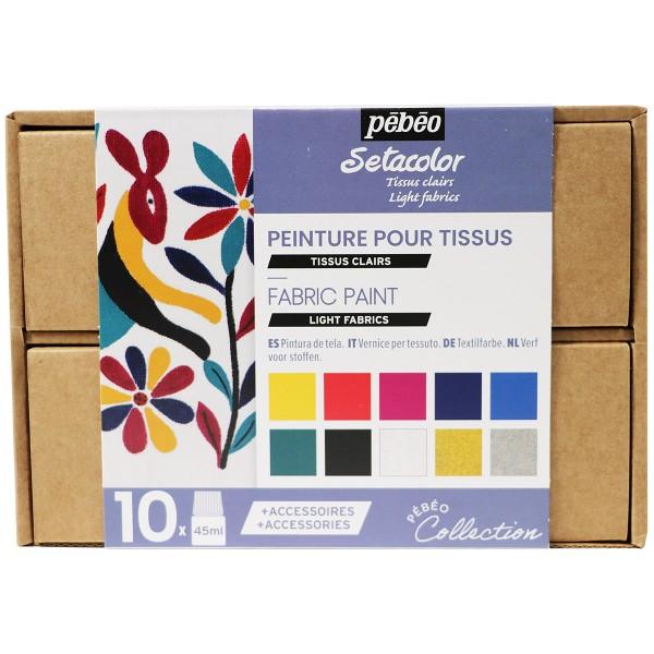 Coffret Collection Pébéo - Peinture pour tissu - Tissus Clair - Photo n°1