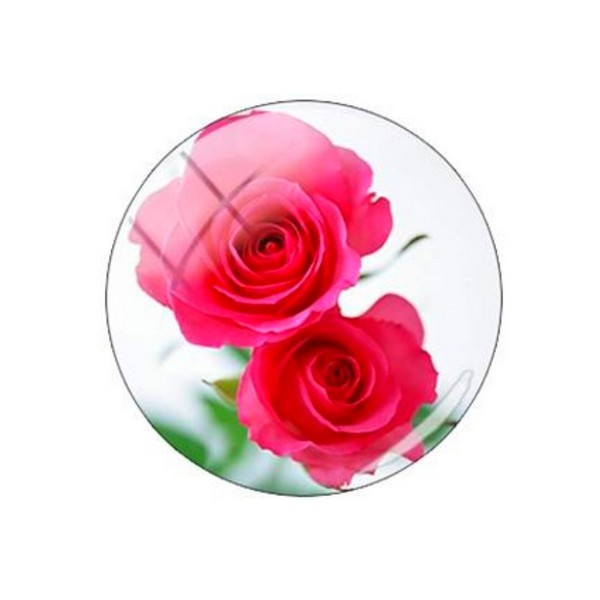 2 cabochons rond en verre 20 mm ROSE ROUGE - Photo n°1