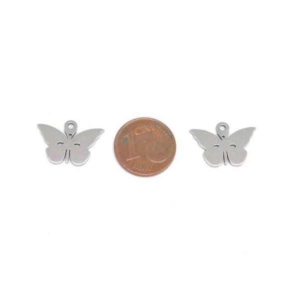 4 Breloques Papillon Argenté En Acier Inoxydable - Photo n°2