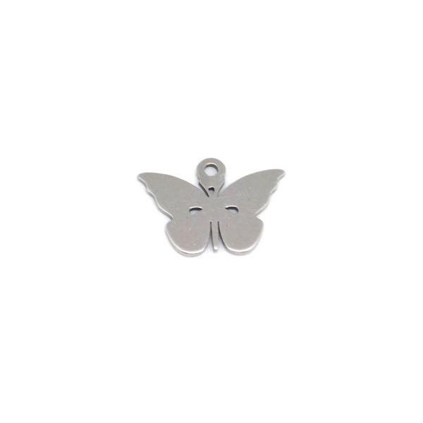 4 Breloques Papillon Argenté En Acier Inoxydable - Photo n°3