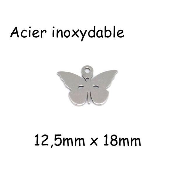 4 Breloques Papillon Argenté En Acier Inoxydable - Photo n°1