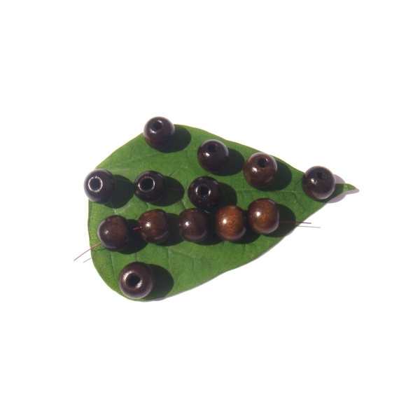 Lot 50 Perles Bois teinté Marron Foncé 12 MM de diamètre x 11 MM - Photo n°1