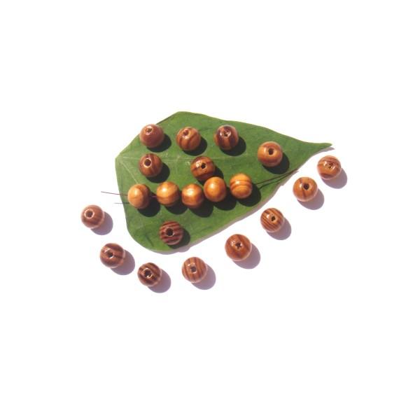 Lot 50 Perles Bois massif naturel multicolore 10 MM de diamètre - Photo n°1