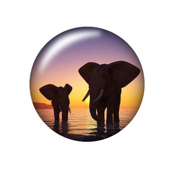2 cabochons rond en verre 20 mm ELEPHANT - Photo n°1
