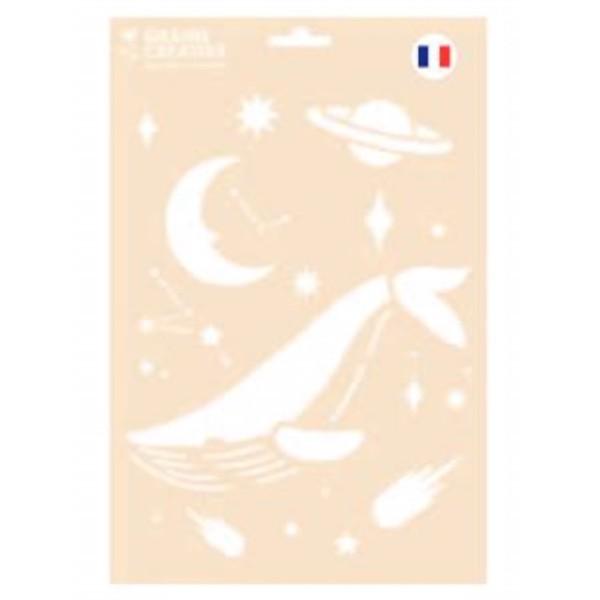 Pochoir réutilisable format A4 motif Cosmos - Photo n°1