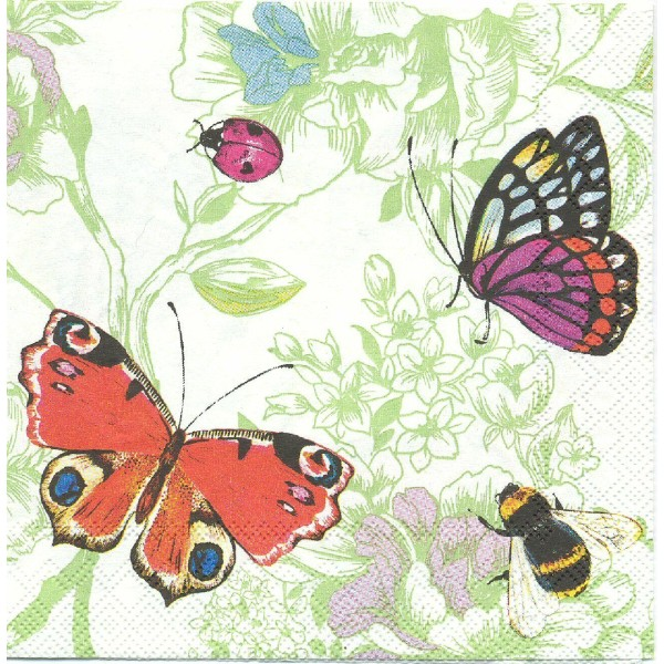 4 Serviettes en papier Papillon Abeille Coccinelle Format Lunch Decoupage Decopatch L-538620 IHR - Photo n°1