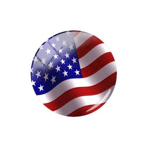 2 cabochons rond en verre 20 mm DRAPEAU USA - Photo n°1