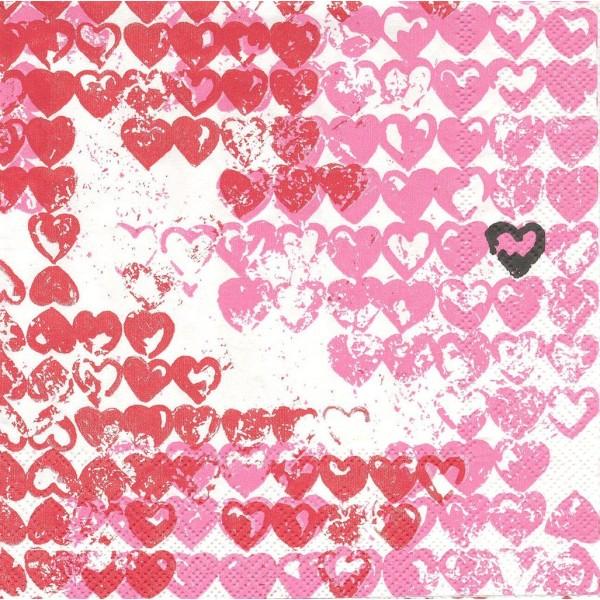 4 Serviettes en papier Petits Cœurs Rouge Format Lunch Decoupage Decopatch L-542166 IHR - Photo n°1