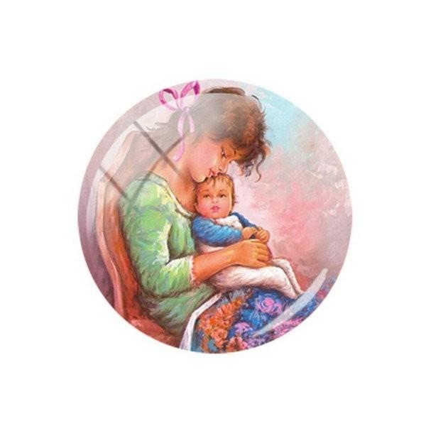 1 cabochon rond en verre 25 mm MERE ENFANT - Photo n°1
