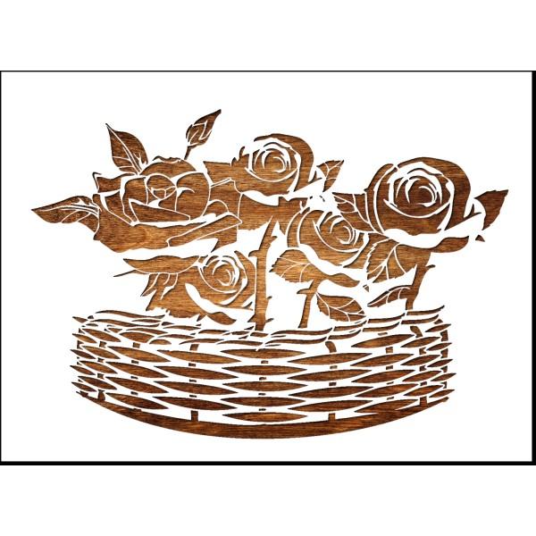 Pochoir A4 en plastique Mylar roses dans panier en osier - Photo n°1