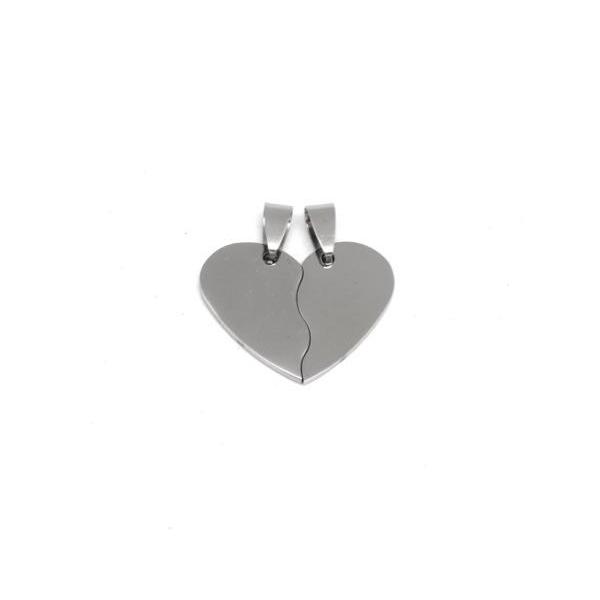 1 Pendentif Coeur Brisé Argenté En Acier Inoxydable Pouvant Être Gravé - Coeur Séparable Person - Photo n°3