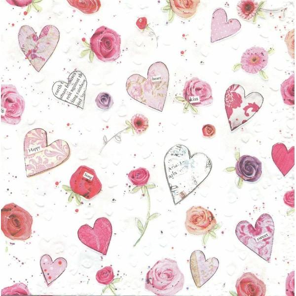 4 Serviettes en papier Gaufrées Cœurs Roses Format Lunch Decoupage 24052 Paper+Design - Photo n°1