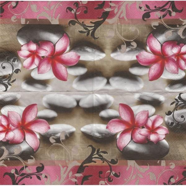 4 Serviettes en papier Détente Fleurs Galet Format Lunch Decoupage 200050 Paper+Design - Photo n°1