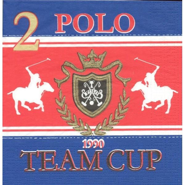 4 Serviettes en papier Sport Polo Coupe Format Lunch Decoupage Decopatch 6307 PPD - Photo n°1