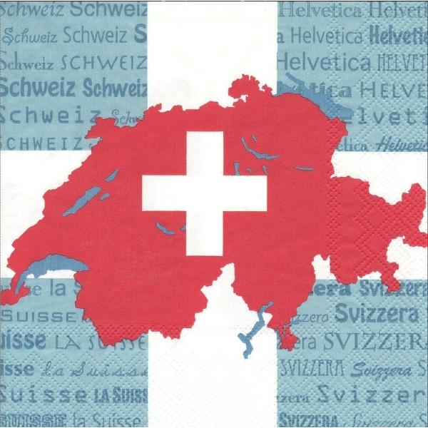 4 Serviettes en papier Suisse Format Lunch Decoupage LU1101110 Sweet Pac - Photo n°1
