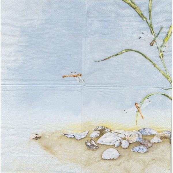 4 Serviettes en papier Libellule Mer Plage Coquillages Format Lunch Decoupage 64-81 Mona Svärd - Photo n°1