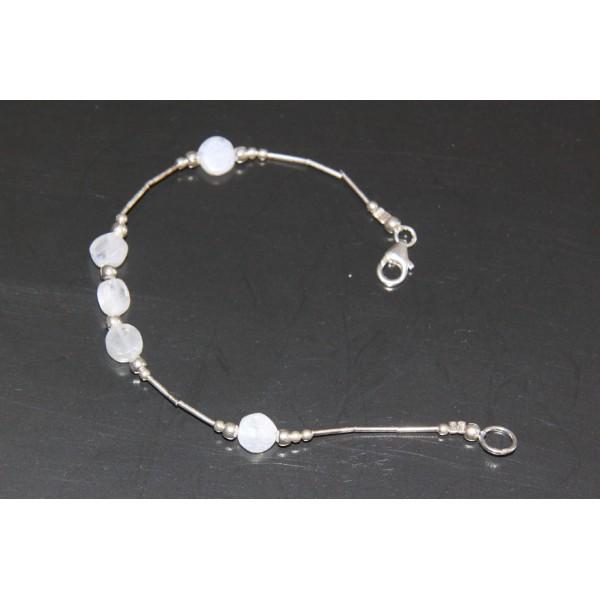 Bracelet pierre de lune et argent - Photo n°2