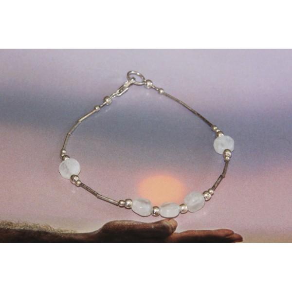 Bracelet pierre de lune et argent - Photo n°4