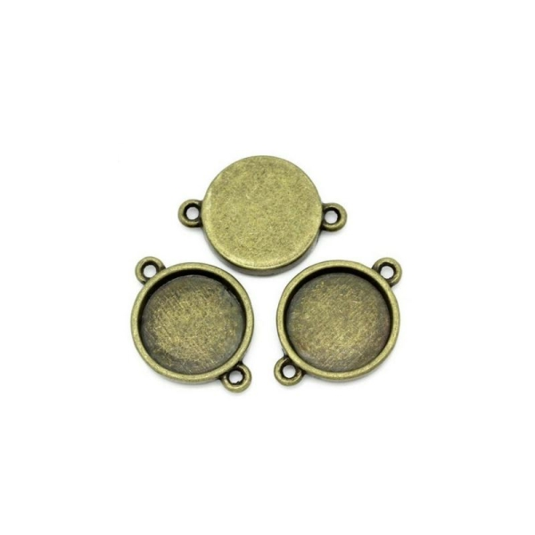 20 Connecteurs Supports Cabochons Bronze 16mm - Photo n°1