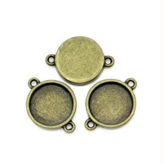 20 Connecteurs Supports Cabochons Bronze 16mm