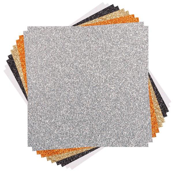Assortiment de papier cartonné pailleté - 30,5 x 30,5 cm - 10 feuilles - Photo n°2