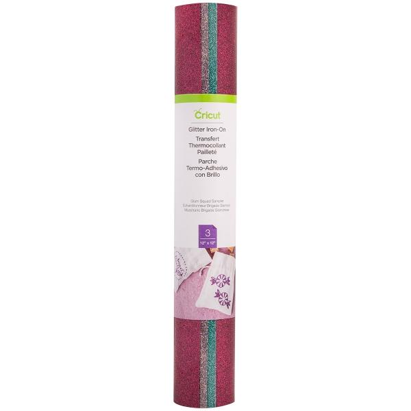 Flex Thermocollant pailleté pour Cricut - Rose, Violet et Bleu - 30,5 x 30,5 cm - 3 pcs - Photo n°1