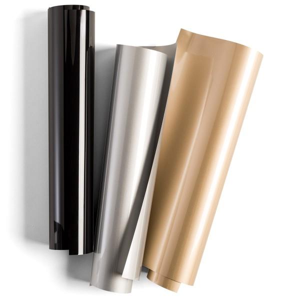 Flex thermocollant EveryDay Cricut Maker - Doré, Argenté et Noir - 30,5 x 30,5 cm - 3 pcs - Photo n°1