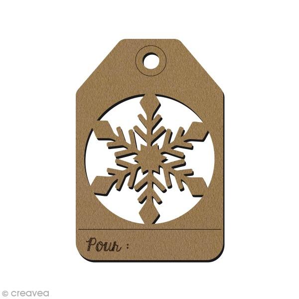 Étiquette cadeau en bois - Flocon ajouré - 7,5 x 5 cm - 1 pce - Photo n°1