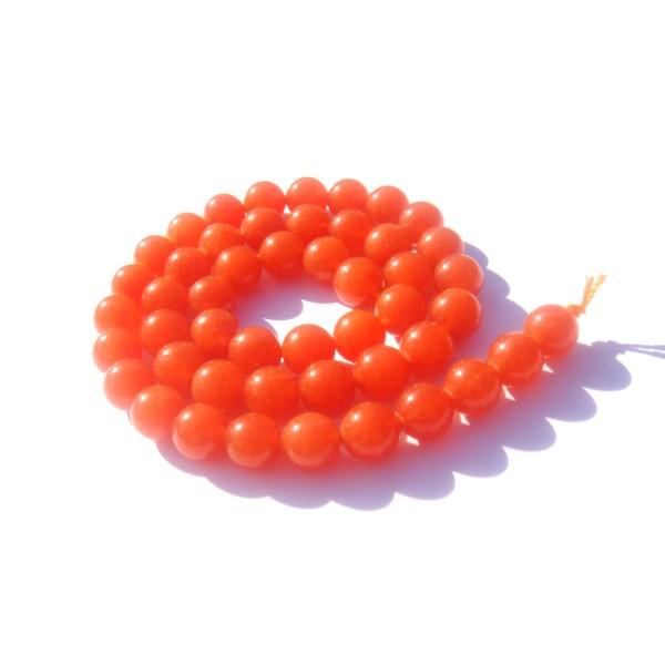 Jade teinté Orange : 8 Perles 8 MM de diamètre - Photo n°1