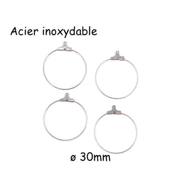 4 Créoles 30mm En Acier Inoxydable Argenté, Boucles D'oreilles À Customiser - Photo n°1