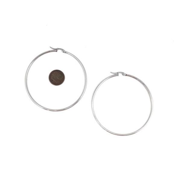 2 Créoles Argenté En Acier Inoxydable 60mm De Diamètre - Photo n°2