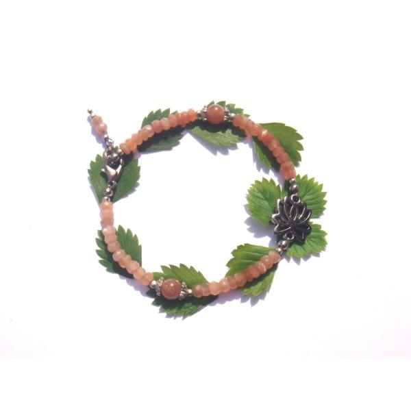 Bracelet Pierre de Soleil et Lotus 19/20 CM de tour de poignet x 6 MM - Photo n°2