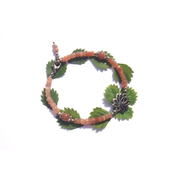 Bracelet Pierre de Soleil et Lotus 19/20 CM de tour de poignet x 6 MM - Photo n°1