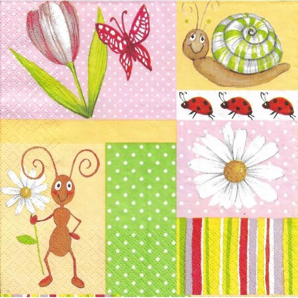 4 Serviettes en papier Printemps Fourmi Escargot Format Lunch Decoupage Decopatch 1210-09303 Atelier - Photo n°1