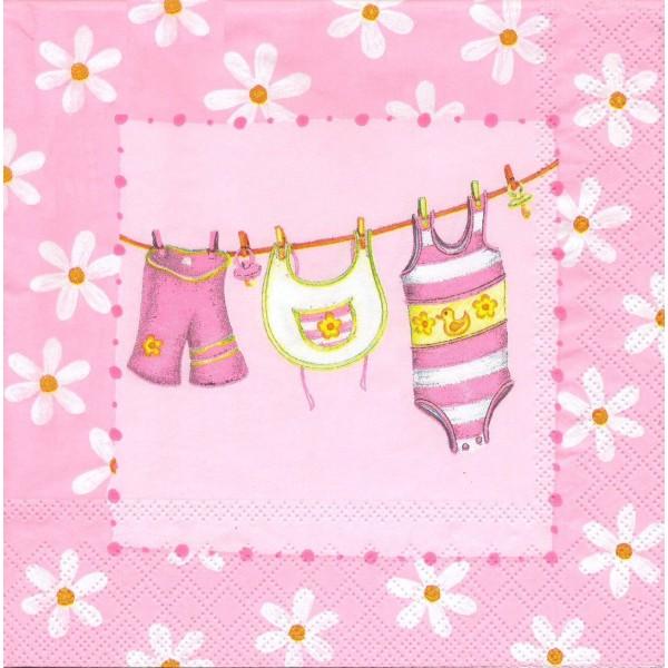 4 Serviettes en papier Naissance Vêtements Rose Format Lunch Decoupage Decopatch 13304965 Ambiente - Photo n°1