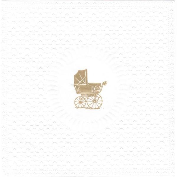 4 Serviettes en papier Gaufrées Médaillon Naissance Landau Format Lunch Decoupage 1331612 PPD - Photo n°1