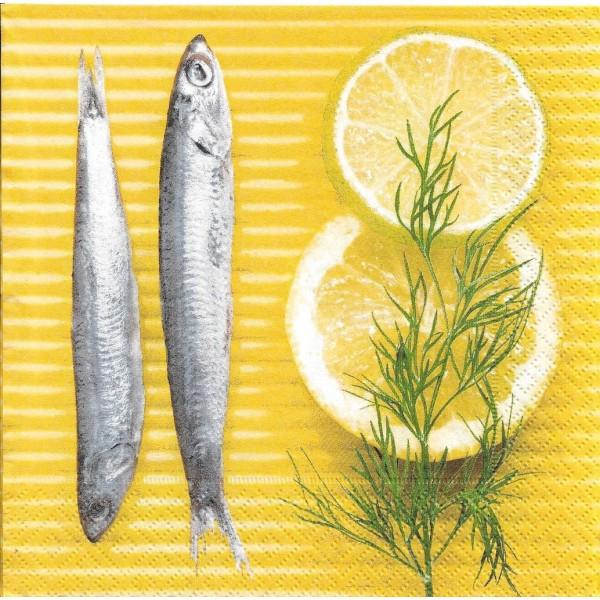 4 Serviettes en papier Cuisine Sardines Citron Format Lunch Decoupage Decopatch 21211 Paper+Design - Photo n°1