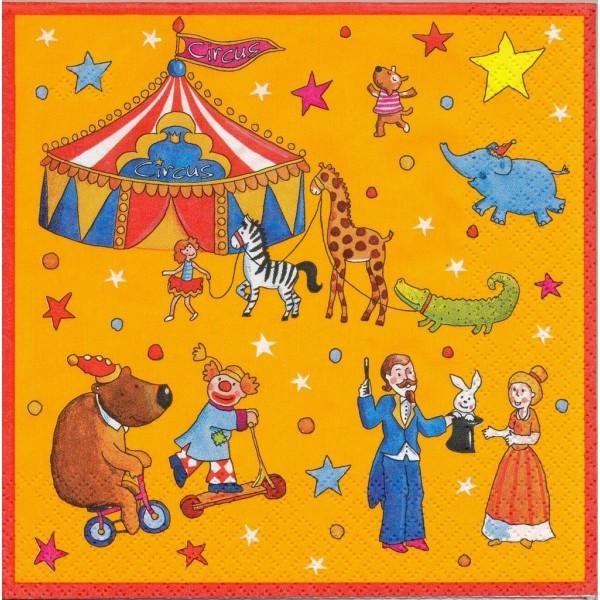 4 Serviettes en papier Cirque Clown Animaux Format Lunch Decoupage Decopatch S4380A Stewo - Photo n°1