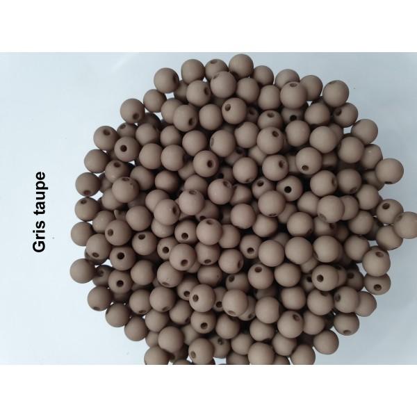 Lot de 200  perles acryliqes 6mm de diametre gris taupe - Photo n°1